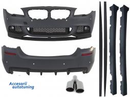 Pachet Exterior BMW F10 Seria 5 (2011-2014) M-Performance Design cu Ornamente Evacuare M-Power Negre - COCBBMF10MPDASB