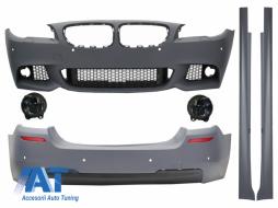 Pachet Exterior BMW F10 Seria 5 (2011-2014) M-Technik Design Cu Proiectoare de ceata fumurii - COCBBMF10MTFS