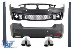 Pachet Exterior BMW F30 (2011-up) EVO II M3 Design Fara Proiectoare cu Ornamente Evacuare  M-Power Negre - COCBBMF30EVOAB