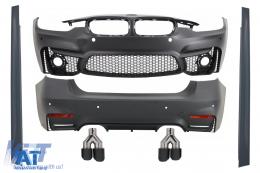 Pachet Exterior compatibil cu BMW F30 (2011-2019) EVO II M3 CS Design Fara Proiectoare cu Tobe Ornamente Fibra Carbon - COCBBMF30EVO74