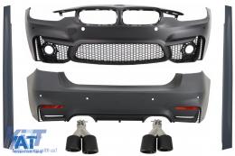 Pachet Exterior compatibil cu BMW F30 (2011-2019) EVO II M3 CS Design Fara Proiectoare cu Tobe Ornamente Sistem de evacuare Carbon Fiber - COCBBMF30EVOGJET