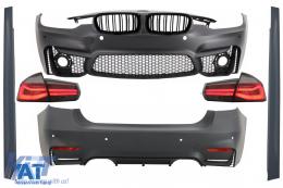 Pachet Exterior compatibil cu BMW F30 (2011-2019) cu Stopuri LED Semnal Dinamic Secvential EVO II M3 CS Design Fara Proiectoare si Grile Centrale Negru Lucios M Design - COCBBMF30EVOFGDPBRS