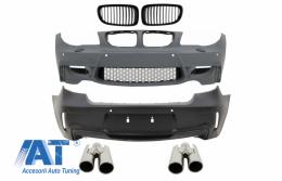 Pachet Exterior compatibil cu BMW Seria 1 E81 E82 E87 E88 (2004-2011) 1M Design Tuburi Ventilatie Incluse - COFBBME87M1WOGRBTY