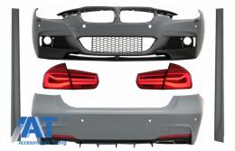 Pachet Exterior compatibil cu BMW Seria 3 F30 (2011-2019) cu Stopuri LED Rosu Clar Semnal Dinamic Secvential - COCBBMF30MPDOWOFLRC