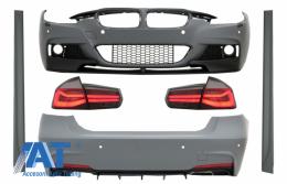 Pachet Exterior compatibil cu BMW Seria 3 F30 (2011-2019) cu Stopuri LED Rosu Fumuriu Semnal Dinamic Secvential - COCBBMF30MPDOWOFLRS