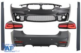 Pachet Exterior compatibil cu BMW Seria 3 F30 (2011-2019) si Stopuri LED Semnal Dinamic Secvential EVO II M3 CS Design Fara Proiectoare