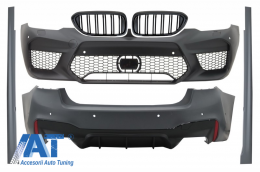 Pachet Exterior compatibil cu BMW Seria 5 G30 (2017-up) M5 Design cu Grile Centrale Negru Lucios M Design - COCBBMG30M5