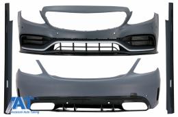 Pachet Exterior compatibil cu Mercedes C-Class W205 Sedan (2014-2020) C63 Design - CBMBW205AMGFL