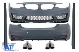 Pachet Exterior Complet BMW Seria 4 F32 F33 (2013-up) M4 Design Coupe Cabrio Grand Coupe cu Ornamente Evacuare M-Power Negre - COCBBMF32M4DOAB