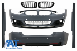 Pachet Exterior Complet BMW Seria 4 (F32, F33, F36) (2013-up) M-Performance Design cu Grila Centrala Matte Black M-Design - COCBBMF32MPTSOGB