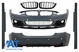 Pachet Exterior Complet compatibil cu BMW Seria 4 F32 F33 (2013-up) M-Performance Design Coupe Cabrio cu Grile Centrale Piano Black