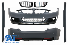 Pachet Exterior Complet compatibil cu BMW Seria 4 (F32, F33, F36) (2013-up) M-Performance Design cu Grila Centrala Piano Black M-Power Look - COCBBMF32MPTSOPB