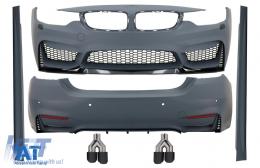 Pachet Exterior Complet compatibil cu BMW Seria 4 F32 F33 (2013-up) M4 Design Coupe Cabrio cu Tobe Ornamente Sistem de evacuare Carbon Fiber - COCBBMF32M4DOKLT