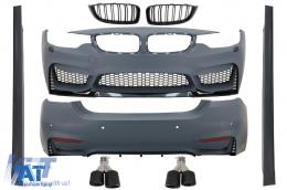 Pachet Exterior Complet compatibil cu BMW Seria 4 F36 Gran Coupe (2013-03.2019) M4 Look cu Grile si Ornamente Tobe Carbon - COCBBMF36M4DOGJET