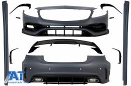 Pachet Exterior Complet compatibil cu Mercedes A-Class W176 (2012-2018) A45 Design cu Prelungiri Bara Fata Spate si Eleron Portbagaj - COCBMBW176AMGTS