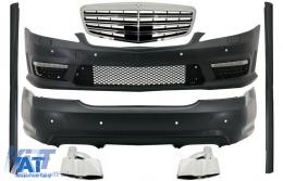 Pachet Exterior Complet compatibil cu Mercedes S-Class W221 (2005-2011) cu Grila Chrom si Ornamente Tobe - COCBMBW221AMGFS65C
