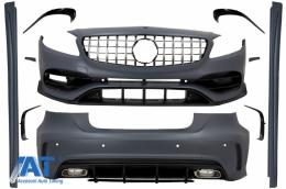 Pachet Exterior Complet cu Grila Centrala compatibil cu MERCEDES A-Class W176 (2012-2018) Facelift A45 Design - COCBMBW176AMGGTRCN