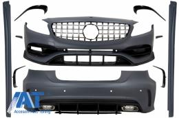 Pachet Exterior Complet cu Grila Centrala compatibil cu MERCEDES A-Class W176 (2012-2018) Facelift A45 Design