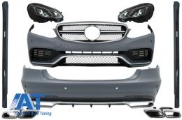 Pachet Exterior Complet cu Ornamente Evacuare si Faruri LED Xenon compatibil cu Mercedes W212 E-Class (2013-2016) E63 Look - COCBMBW212FAMGH