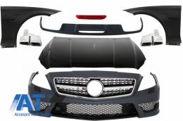 Pachet Exterior Complet cu Ornamente Evacuare compatibil cu Mercedes CLS W218 C218 Sport Line (2011-2018) CLS63 Design - COCBMBW218AMG