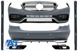 Pachet Exterior Complet cu Ornamente Evacuare Negre compatibil cu Mercedes E-Class W212 Facelift (2013-2016) E63 Design - COCBMBW212FAMGTYB