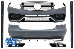 Pachet Exterior Complet cu Ornamente Evacuare Negre compatibil cu Mercedes E-Class W212 Facelift (2013-2016) E63 Design - COCBMBW212FAMGTYBB