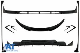 Pachet Exterior Complet de Extensii compatibil cu Tesla Model 3 (2017-up) Prelungire Bara Fata cu Difuzor de aer si Eleron Negru Lucios - CBTSLM3