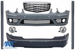 Pachet Exterior Complet + Grila Centrala compatibil cu MERCEDES Benz W211 E-Class (2002-2009) - COCBMBW211AMGFRFG