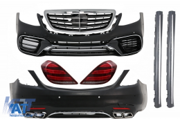 Pachet Exterior Complet Mercedes Benz S-Class W222 Facelift (2013-Up) S63 AMG Design Cu Stopuri Full LED Semnalizare Dinamica - COCBMBW222AMGS63FGT