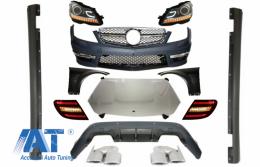 Pachet exterior Conversie Complet Facelift compatibil cu MERCEDES W204 2007-2012 cu faruri LED DRL si Stopuri LED Light Bar - COCBMBW204C63FSTL