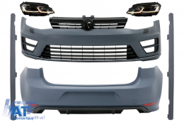 Pachet Exterior cu Faruri G7.5 Look LED Semnal Dinamic compatibil cu VW Golf 7 VII (11/2012-07/2017) R Design - COCBVWG7R20FW2