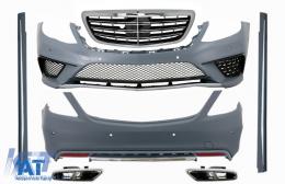 Pachet Exterior cu Ornamente tobe Crom si Grila compatibil cu Mercedes S-Class W222 (2013-06.2017) S63 Design - COCBMBW222AMGS63WOLFG