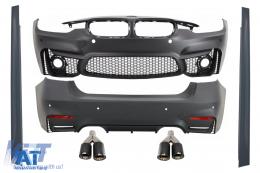 Pachet Exterior cu Ornamente Tobe Evacuare Carbon compatibil cu BMW F30 (2011-2019) EVO II M3 CS Design Fara Proiectoare - COCBBMF30EVOKLT