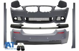 Pachet Exterior cu Prelungire Bara si Capace oglinzi arbon Real & Toba Ornament Carbon Mat compatibil cu BMW Seria 5 F10 Non LCI (2011-2014) M Design - COCBBMF10MTFBCFRKLT