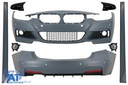 Pachet Exterior cu Proiectoare Ceata si Capace oglinzi compatibil cu BMW Seria 3 F30 (2011-2019) M-Technik Design - COCBBMF30MTFLB