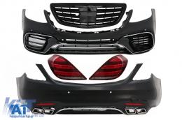 Pachet Exterior cu Stopuri Full LED Semnalizare Dinamica si Grila Centrala Negru Lucios compatibil cu MERCEDES S-Class W222 (2013-06.2017) S63 Design - COCBMBW222AMGS63FTLFGPB