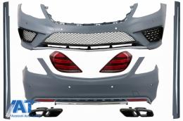 Pachet Exterior cu Stopuri si Ornamente Tobe Negru compatibil cu Mercedes S-Class W222 (2013-06.2017) S63 Design - COCBMBW222AMGS63TLTYB