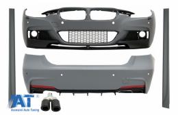 Pachet Exterior cu Toba Ornament Evacuare Fibra Carbon Mat Orificiu de admisie 5.8 cm Partea Stanga compatibil cu BMW Seria 3 F30 (2011-2014) & F30 LCI Facelift (2015-up) M Design - COCBBMF30MPDOWOFL