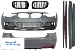 Pachet Exterior M-Performance BMW F30 2011-up cu Grila Centrala Negru Lucios M Design - COCBBMF30MPSOFGM