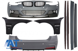 Pachet Exterior M-Performance BMW F30 2011-up cu Aripi Laterale si Grile Centrale Negru Lucios - COCBBMF30MPSOFG