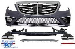 Pachet Exterior Mercedes Benz W222 S-Class (2013-up) S63 AMG Design cu Grila Centrala Crom
