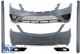 Pachet Exterior Mercedes Benz W222 S-Class (2013+) Editie Speciala Chrome cu Ornamente Evacuare Negre AMG S63 Design - COCBMBW222AMGS63CBB