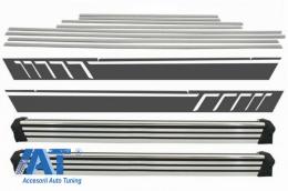 Praguri Trepte Laterale cu Bandouri Laterale Brushed Aluminum si Stickere Laterale Negru Mat compatibil cu MERCEDES G-Class W463 (1989-2017) - CORBMBW463DMSMB