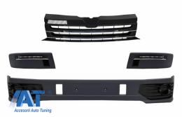 Prelungire Bara Fata cu Grila Centrala fara emblema si Lumini de zi LED (DRL) compatibil cu VW Transporter Multivan Caravelle T5 T5.1 Facelift (2010-2015) Sportline - COCBSVWT5OEFGDRL