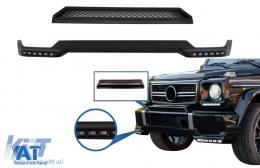 Prelungire Bara Fata LED DRL si Prelungire Superioara Bara Fata compatibil cu Mercedes G-Class W463 (1989-2017) Negru - COFBSMBW463BKB