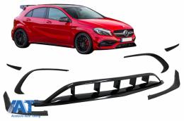 Prelungiri Bara Fata compatibil cu Mercedes A-Class W176 Facelift (2015-2018) A45 Design Negru Lucios - FBSPMBW176FAMG