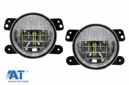 Proiectoare Ceata Full LED Dublu Proiector compatibil cu JEEP Wrangler JK TJ JL (1996-2018) 4 Inch - FLJEWRSMFL