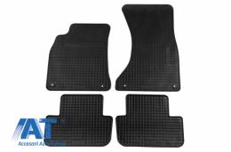 Set 4 covorase auto din cauciuc PETEX, negru, compatibil cu Audi A4 11/2007-09/2015, A4 Avant 05/2008-09/2015, A4 Allroad 2009-05/2016, A5 Sportback 09/2009-12/2016- - 13310