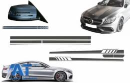 Set Stickere compatibil cu Capota Plafon Portbagaj si Stickere Oglinzi Gri Inchis Mercedes C205 Coupe A205 Cabriolet (2014-2016) A45 Design Edition 1 - COCBSTICKERC205DG