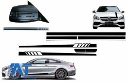 Set Stickere compatibil cu Capota Plafon Portbagaj si Stickere Oglinzi Negru Mercedes C205 Coupe A205 Cabriolet (2014-2016) A45 Design Edition 1 - COCBSTICKERC205MB